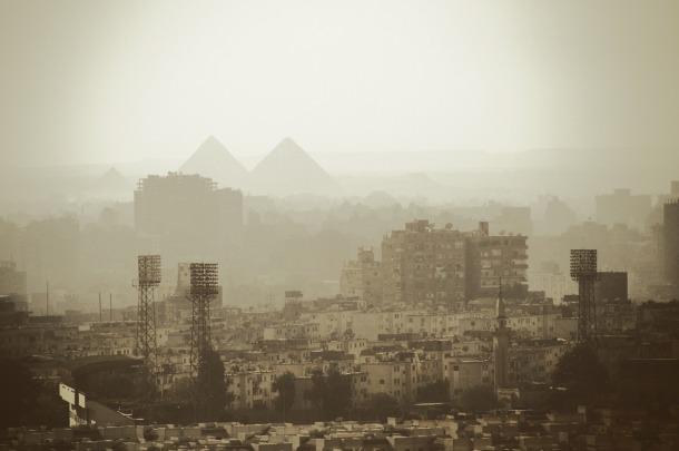 Cairo city with pyramids