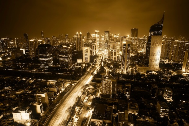 Jakarta skyline by night